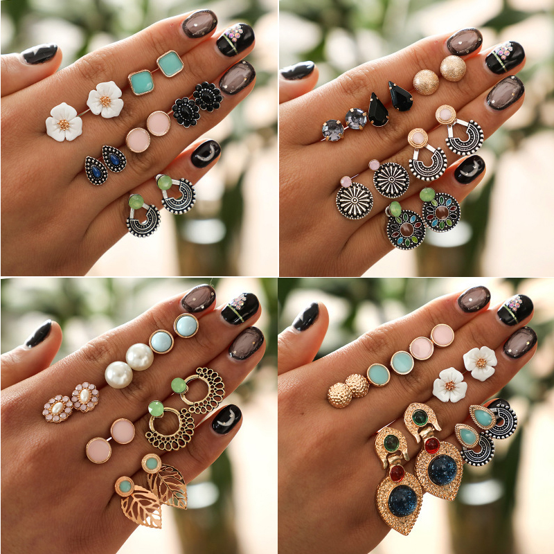 6 Pair/lot Boho Flower Leaf Stud Earring Set For Women Girl Geometric Retro Fashion Nepal Ethnic Jewelry Round Water Drop Pearl