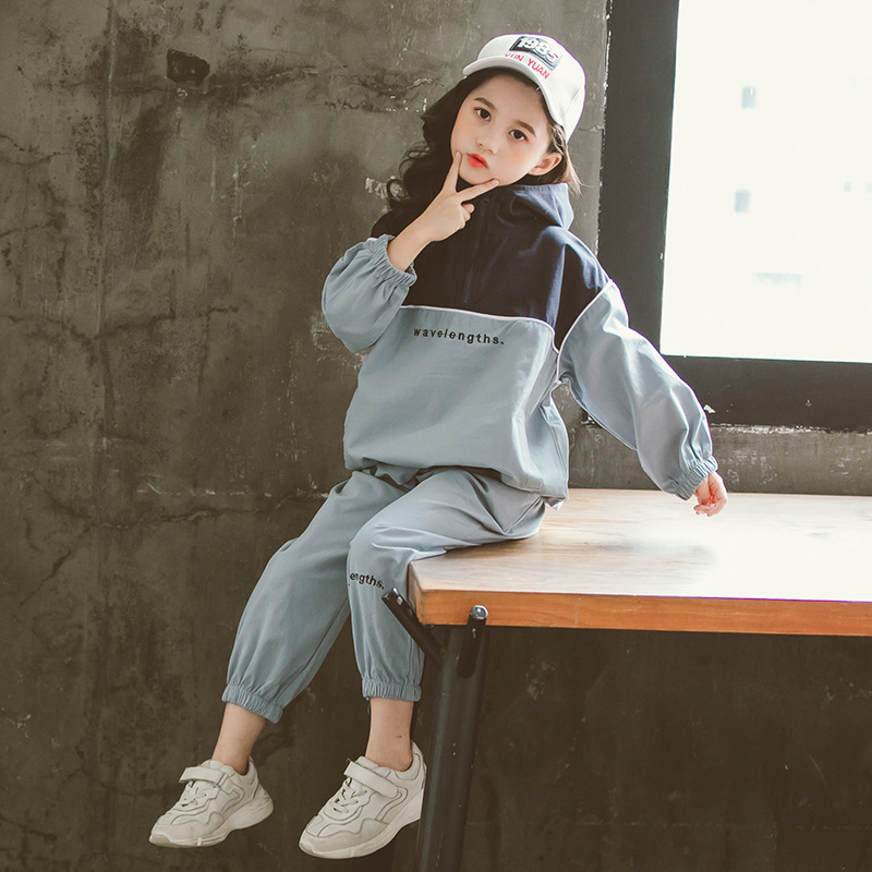 2019 Autumn New Girls Clothes Set Spliced Hoodies+Pants Trend Children Sports Suit Kids Clothes 4 <font><b>6</b></font> 8 <font><b>10</b></font> <font><b>12</b></font> GCC060 image