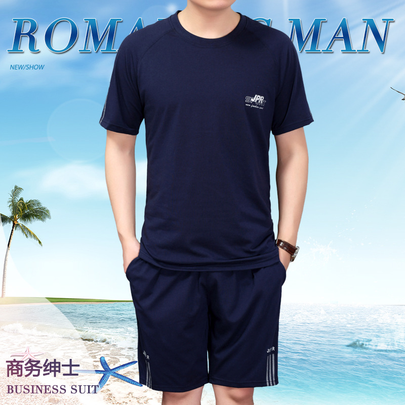 MEN'S Sport Suit Summer New Style Running Sports Clothing Casual Short Sleeve Shorts Middle-aged Two-Piece Set