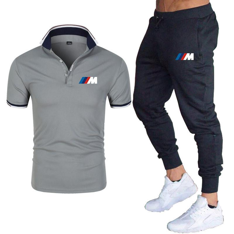 2021New BMW M Men's Summer Leisure Sets POLO+pants Two Pieces Casual Tracksuit Male Sportswear Gym Brand Clothing Sweat Suit