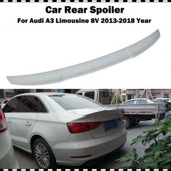 Fiber glass rear trunk spoiler for Audi A3 Limousine sedan 2014 2015 2016 2017 2018 A3 8V FRP gray primer V style wing spoiler
