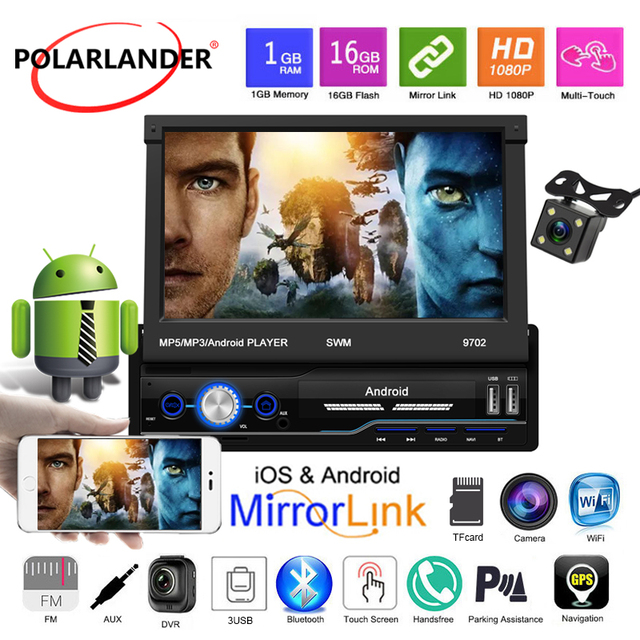 """Car Radio MP5 Rear View Camera Mirror Link IOS Android 8.1 FM HD 1din USB Bluetooth 7"""" Touch Screen Folded WIFI Stereo Audio GPS"""