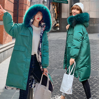 DROWYD Fashion Winter Hair Hooded Cotton Coat for Women New Casual 4 color Windproof Thick Warm Long coat Elegant Loose Top Coat