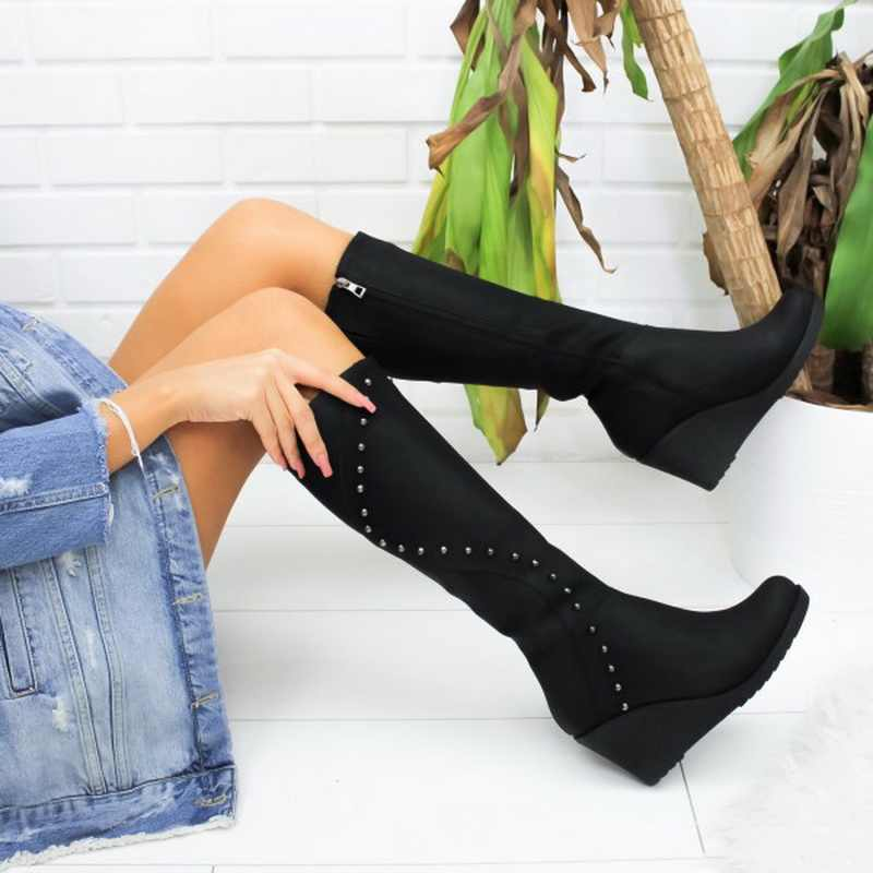 SHUJIN/пикантные сапоги; женские зимние сапоги до бедра в римском стиле; модные замшевые сапоги выше колена на низком каблуке; botas mujer; женская обувь