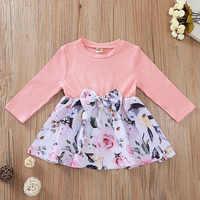 Ropa de bebé niña recién nacida vestido rosa de bebé vestido Floral de manga larga princesa 1er cumpleaños 6 9 12 18 meses ropa de bebé niña
