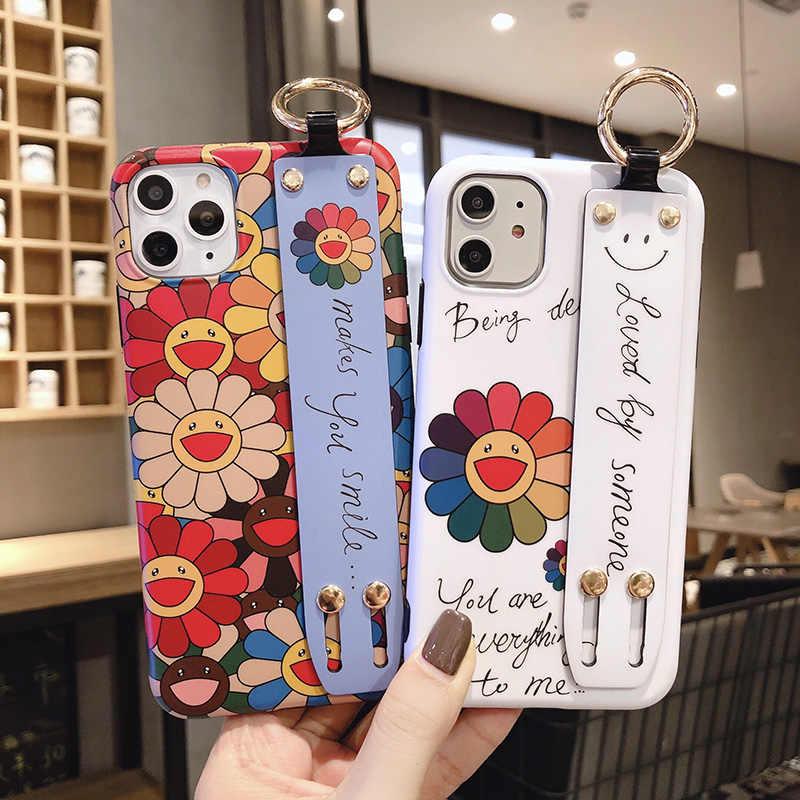 Di Semi di Girasole per Il Caso di Iphone 11 Pro X Xr Xs Max 7 8 Più Il Caso di Bello Sveglio Wirst Cinghia Del Telefono Del Basamento copertura per Il Iphone 7 8 6 6S Plus