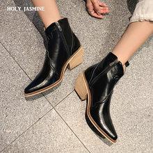 Ковбойские женские ботильоны в западном стиле модные ботинки