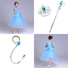 Cinderella Cosplay Dress Costumes Kids Dresses For Girls Childrens Halloween Birthday  Carnival Evening Party Clothes-Blue