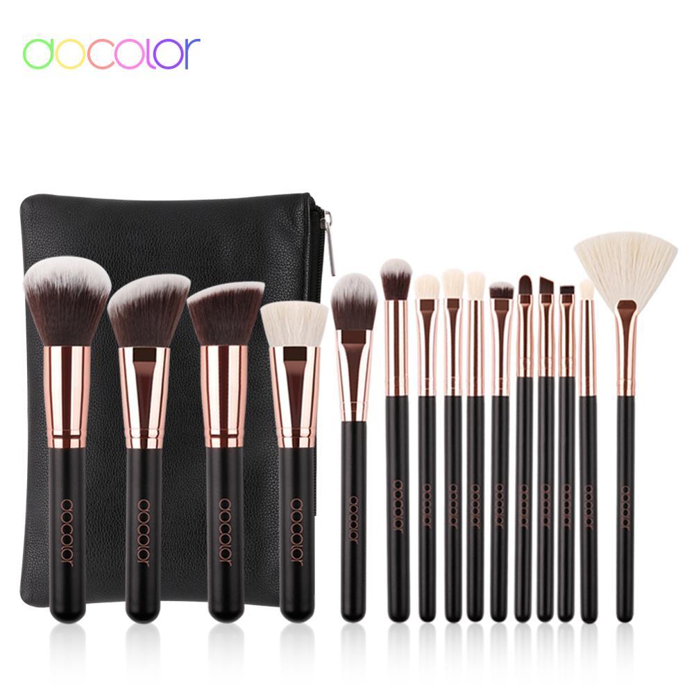 Docolor Classic Makeup Brushes Set Professional Natural Hair Make Up Brush With Bag Eye Shadow Foundation Powder Brush