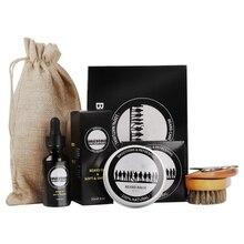 1 Set Man Beard Grooming Kit Mustache Beard Growth Oil Styling Tool Facial Hair Essential Balm Comb Moisturize Wax Scissor
