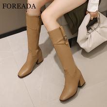 Foreada/женские сапоги на высоком каблуке до колена с квадратным