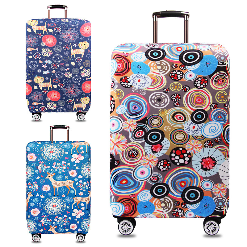 Travel Luggage Cover Suitcase Case Protector XL Travel Luggage Case Protective Floral Prints Elastic Stretch Fabric  Anti-dust
