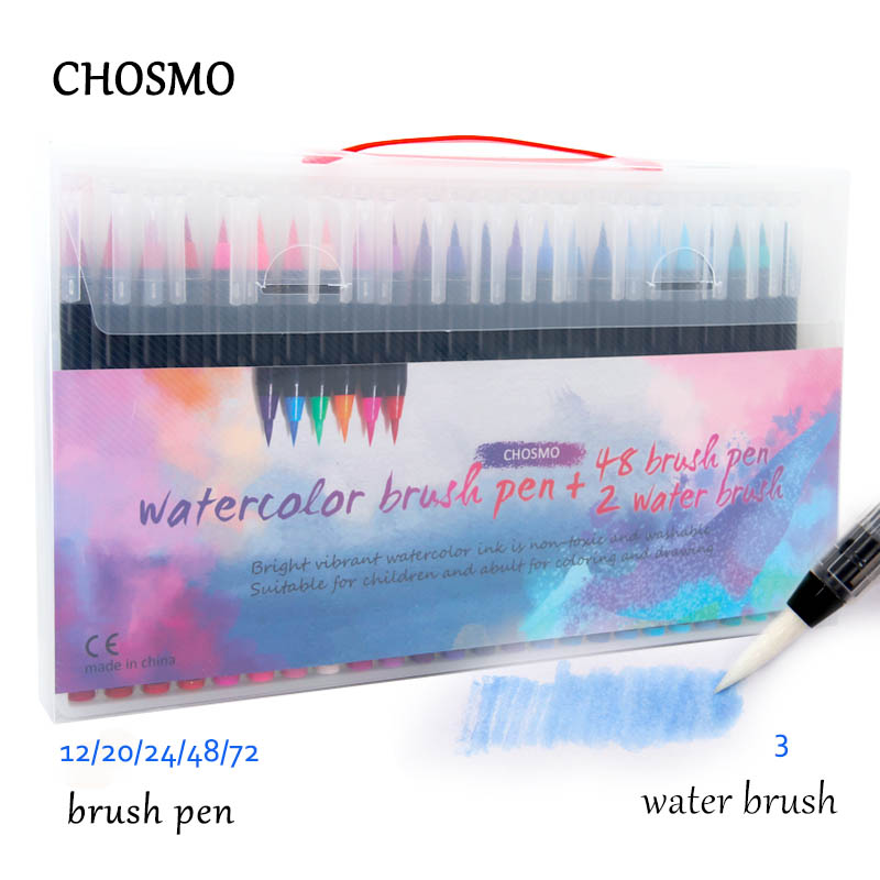 72 Colors Watercolor Brush Pens Art Marker Pens For Drawing Coloring Books Manga Calligraphy School Supplies Stationery
