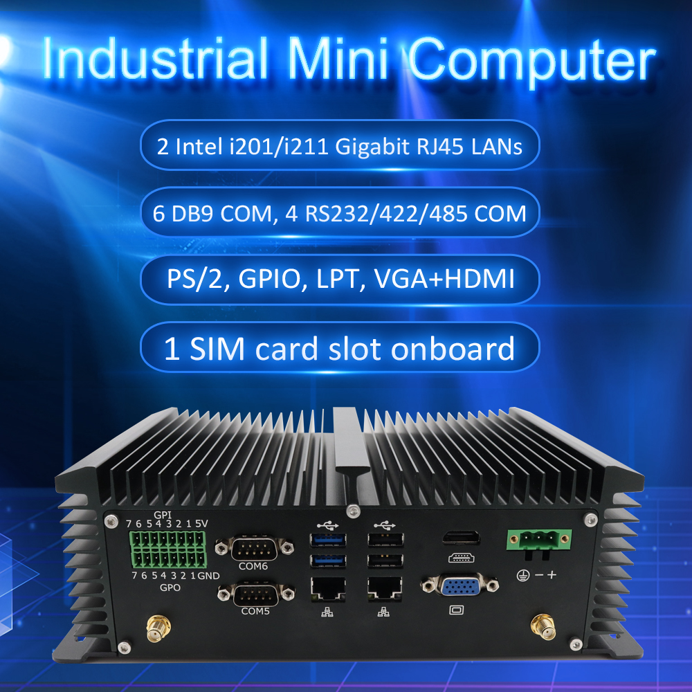 Eglobal New Industrial Pc Intel J1900 Up To 2.42GHz DDR3L Mini Computers With PS/2 VGA HD Dual LAN 6COMS Desktop Pc