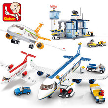 Avion Technic Cargo Plane Airport Airbus Airplane Model Building Blocks Playmobil Figures City Brinquedos Educational Kids Toys
