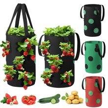 Borsa per piantare fragole vasi per fioriere in feltro borse per coltivazione in tessuto appesi vaso per ortaggi verticale con tasche per visualizzazione