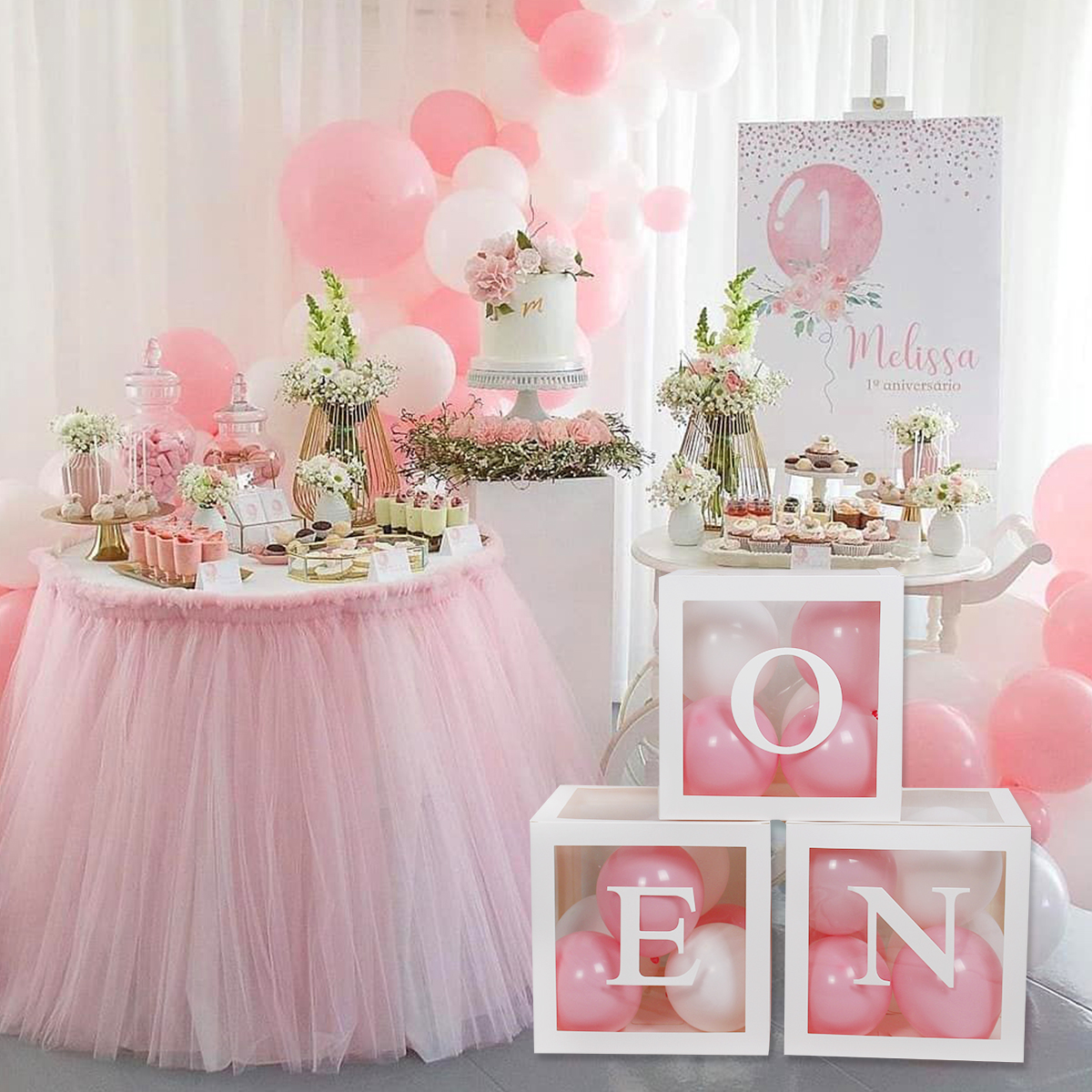 First Birthday Balloon Boxes For Party Decorations 1st Birthday Balloon Blocks Decor with ONE Letter Boy Girl Baby Shower Decor