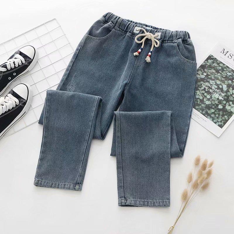 Women Jeans Pants 2020 Autumn Scratch Pattern Distressed Solid Color Jeans Elastic Waist Straight-leg Pants Casual Trousers