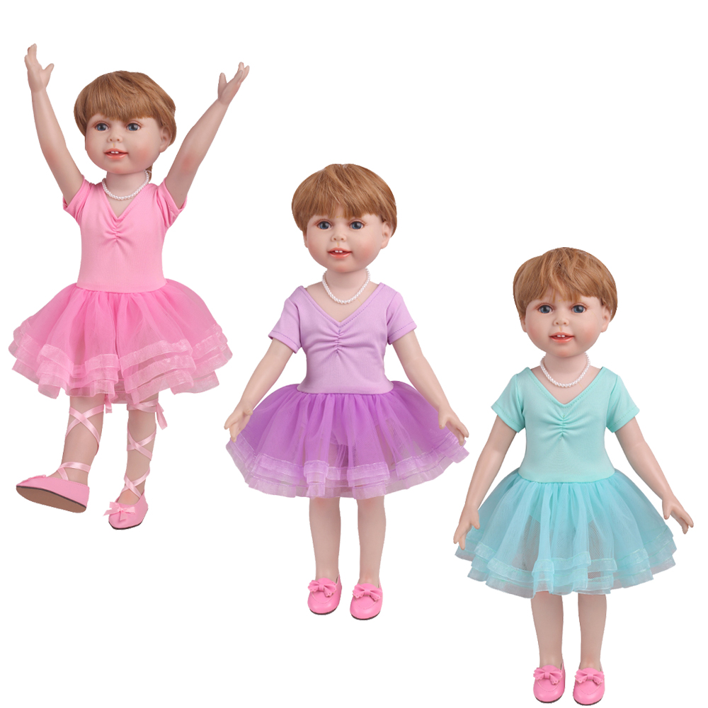 18 inch American OG Girls <font><b>Doll</b></font> <font><b>Clothes</b></font> Pink Ballet Outfit is Pink Blue Purple Dance Skirt <font><b>Clothes</b></font> Baby toys fit 43 <font><b>cm</b></font> baby <font><b>dolls</b></font> image