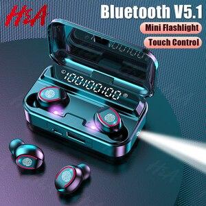 Bluetooth 5.1 Wireless Headphones with Mics Sport Waterproof TWS Bluetooth Earphones Touch Control Music Earbuds Mini Flashlight