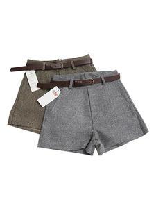 Shorts Belt Wide-Leg Comfortable Elegant Winter Casual Women's Slim New with Woolen Autumn