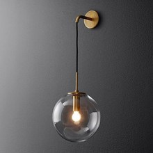American Vintage Wall Lamp  Glass Ball LED Wall Light E27 Golden Wall Lamps  Black Sconce For Bedside Light Fixture  Wandlamp