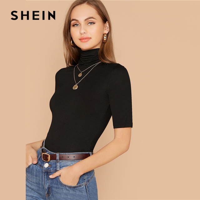 Black Solid High Neck Form Fitted Casual T-Shirt Women Tops 2020