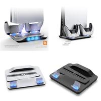 Soporte Vertical para PS5, Base de ventilador de refrigeración, cargador doble para mandos, estación de ventilación, soporte multifunción para PS5