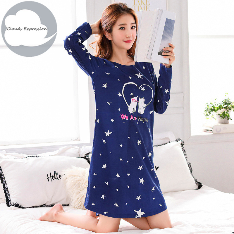New Long Sleeved 65% Polyester Women's Nightgown Lounge Nightdress Girl Sleepwear Casual Nightwear Loose Nightgowns Sleepshirts