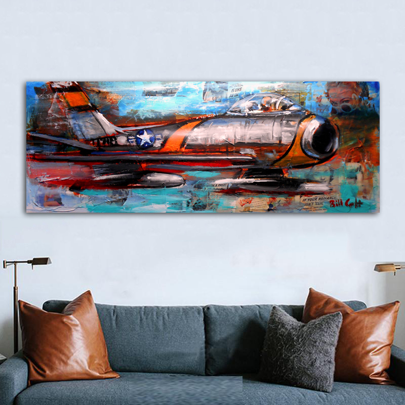 Airplane Abstract Painting Wall Art Pictures For Living Room Huge Size Planes Printed On Canvas Modern Decoration Unframed image