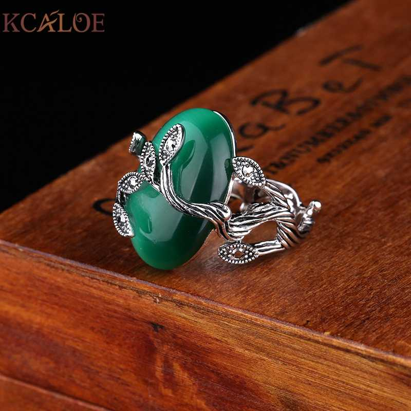 KCALOE Vintage สีเขียวแหวนโอปอลรูปไข่หินธรรมชาติแหวนผู้หญิง Retro Anillo แกะสลักคริสตัลหรูหรา Rhinestone Bague แหวน