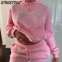Diamonds Tracksuit 2 Piece Set Women Oversize Hoodies Sweatshirt Sweatpants Joggers Sport Pant Suits Femme Outfits Sweatsuits 1