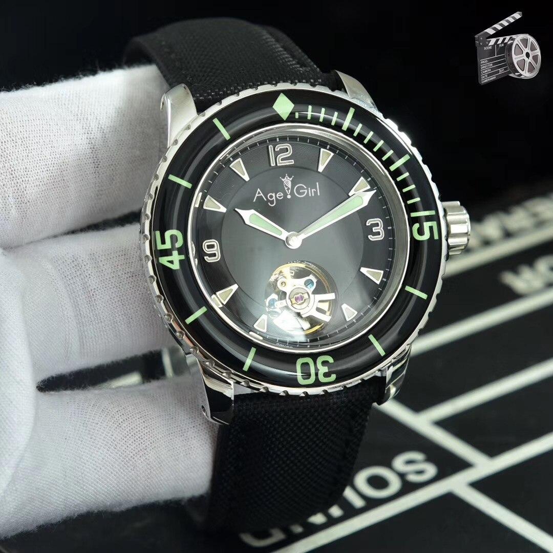 Luxury Brand New Men Stainless Steel Sapphire Watch Japanese Automatic Mechanical Ceramic Bezel Green Canvas Leather Tourbillion
