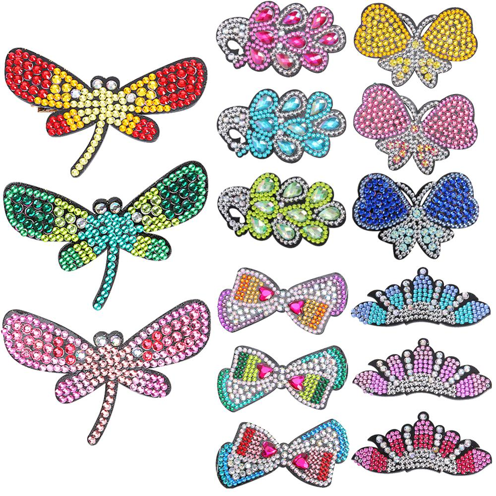 3pcs/set DIY Full Drill Diamond Painting Hair Clip Brooches Butterfly Rhinestone Women Girls Hairpins Handmade Pin Headwear