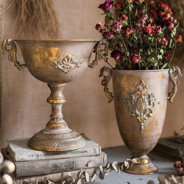 Vintage Old Wrought Iron Vase Flower Home Furnishing Golden Silver European Flower Pot  Goblet Classical Floral Decoration 4