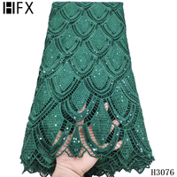 HFX african 2020 latest guipure lace light yellow/white/green/blue/pink nigeria high quality sequin cord lace fabric X3076