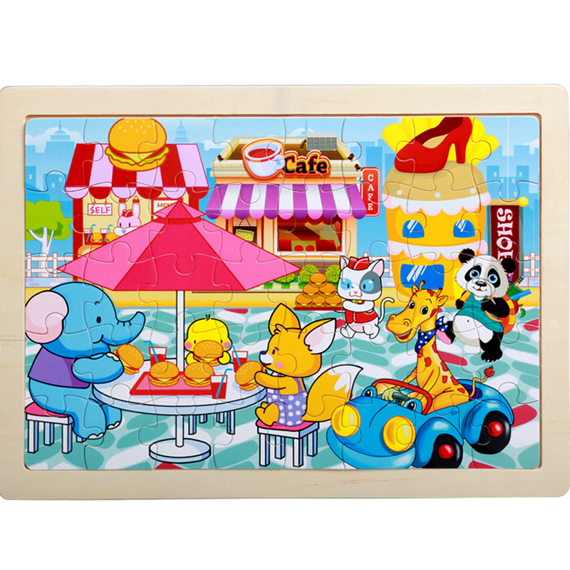 40 Pieces Kids Wooden Puzzle Board Toy Fun Cartoon Animal Jigsaw Boy Girl Baby Early Educational Learning Toys for Children Gift 8