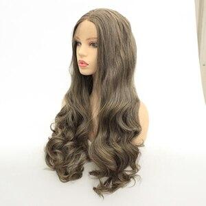 Image 2 - Mrwig parte do meio peruca dianteira sintética do laço glueless 1b #2 # longo corpo ondulado fibra resistente ao calor para a senhora mulher