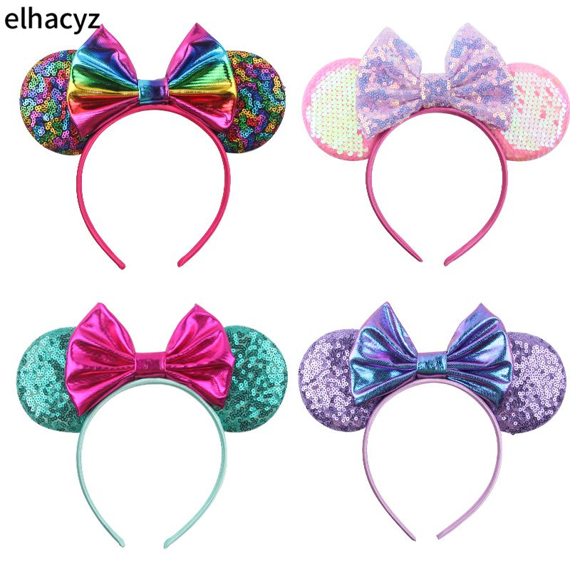 4pcs/lot New Cute 3.3'' Sequnins Minnie Mouse Ears Hairband For Girls 5'' Glitter Bows For Women Party Headband Hair Accessories