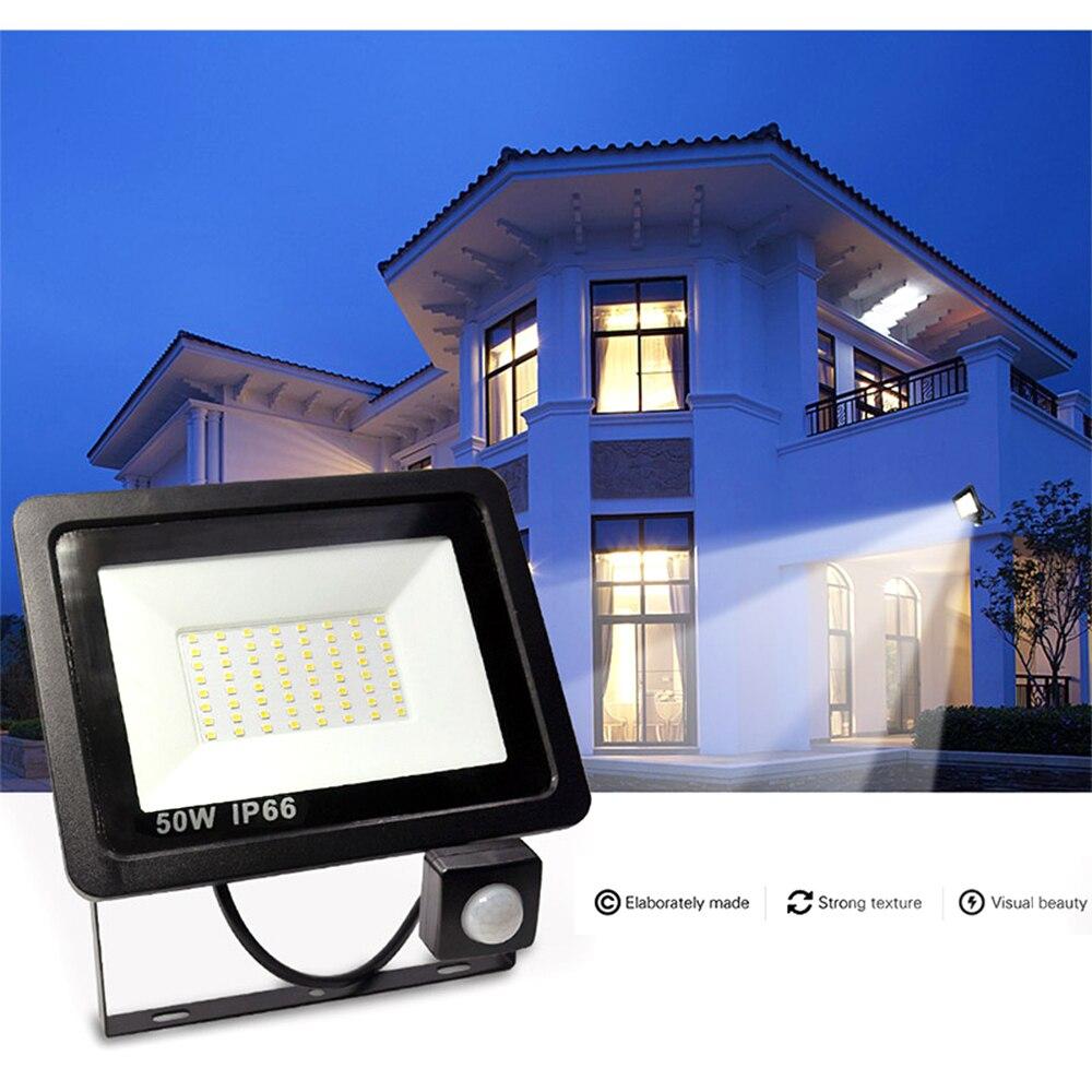 PIR Motion Sensor LED Floodlight 10W 20W 30W 40W 50W Waterproof Led Spotlight For Garden Wall Street Outdoor Lighting AC220V