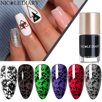 NICOLE DIARY Nail Stamping Polish Black White Red Stamp Varnishes Printing Lacquers for Plate Template Image Transfer Polish 1