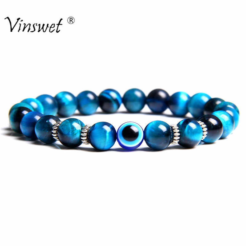 Men Bracelets Evil Eye Bracelet Natural Stone Beads Bracelets for Women Men Male Yoga Hand Jewelry Erkek Bileklik Homme