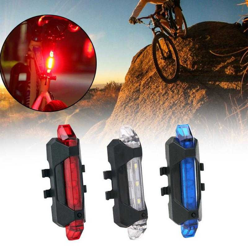 USB Rechargeable Bike Rear Light Tail Lamp LED Bicycle Warning*Safety*Waterproof