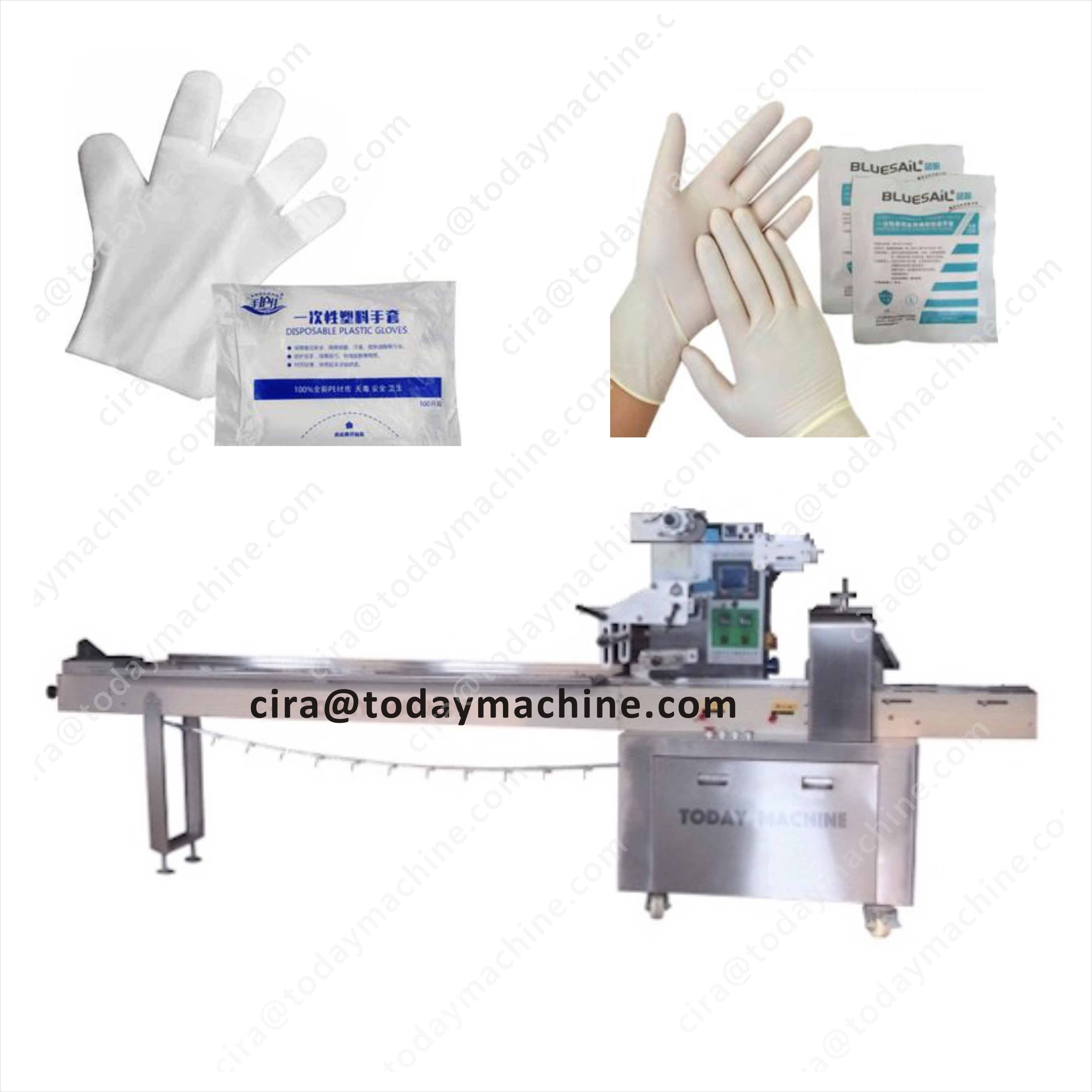 Automatic Surgical Latex Glove Pillow Bag Packing Machine