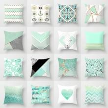 New Ins Mint Green Pillowcase Geometric Glitter Polyester Sofa Decorative Cushion Cover Pillowcase Home Decor 45x45cm