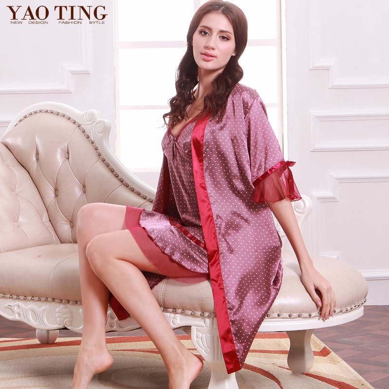 Classic Hot Selling Silk Pajamas Women's Spring Camisole Robe Silk Tracksuit Two-Piece Set