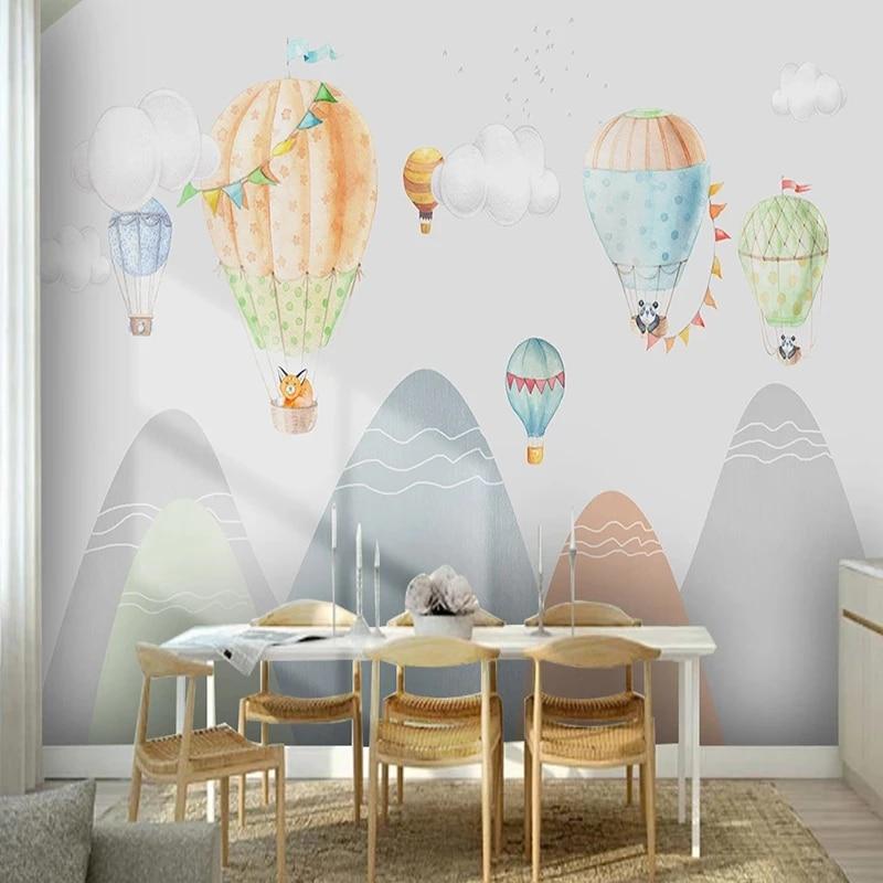 Custom Silk Wallpaper Modern Hand Drawn Children S Room Hot Air Balloon Mountain Mural Home Decor For Kids Room Bedroom Fresco Fabric Textile Wallcoverings Aliexpress