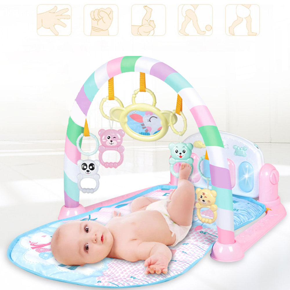 Baby Multifunctional Play Mat Baby Gym Toys Soft Lighting Rattles Musical Blue Pink Toys For Babies Play Piano Gaming Carpet