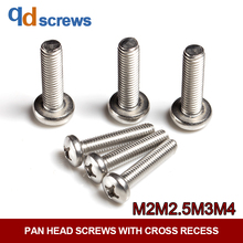 M2M2.5M3M4 Common Stainless Steel Pan head screws with cross recess phillips Round Head Screw GB818 DIN7985 ISO 7045
