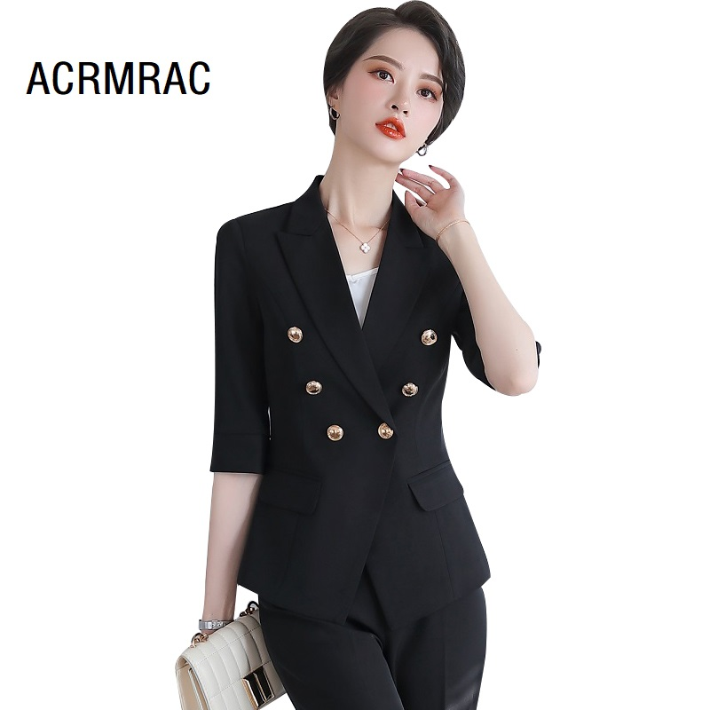 Women Suits Summer Half Sleeve Blazers Pants Office Lady Formal Work Clothes Women Pants Suits Woman Set Suits 852